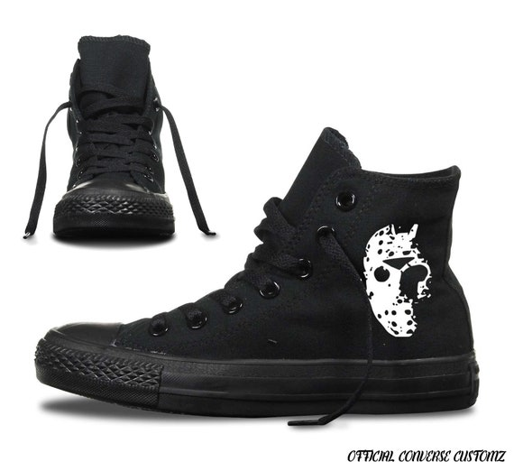 jason voorhees custom printed converse high tops hi quality horror hell film movie friday 13th camp crystal