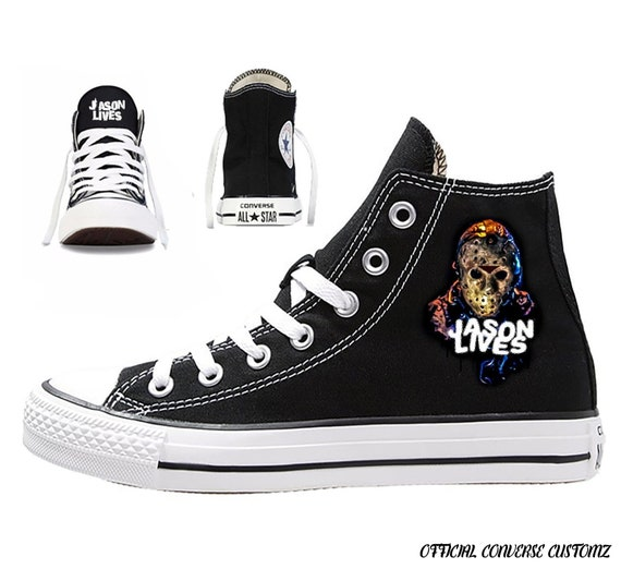 jason voorhees custom printed converse high tops hi quality horror hell film movie friday 13th camp crystal jason lives