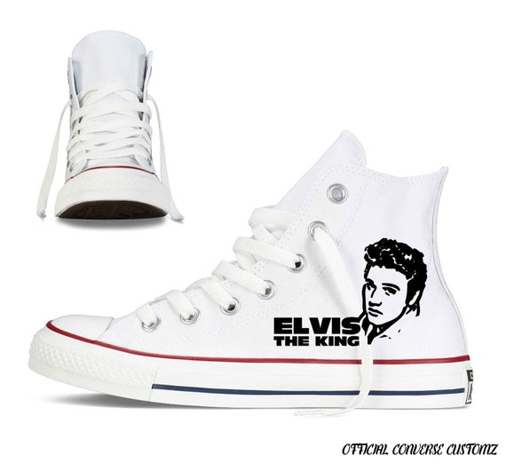 elvis presley custom printed converse high tops hi quality rock legend the king rock and roll art