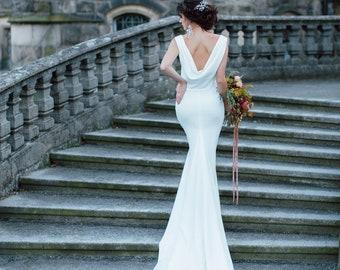 bec6f9d7b ASTRA | Sexy wedding dress with cowl back, mermaid wedding gown, minimal wedding  dress with train, crew neckline, lucky dress atelier
