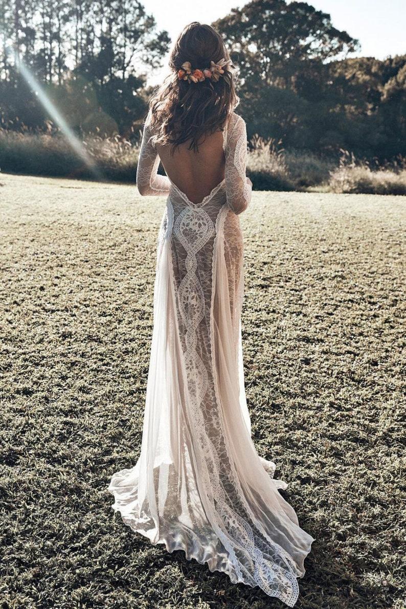 Floral lace wedding dress long sleeves boho Wedding dress image 7