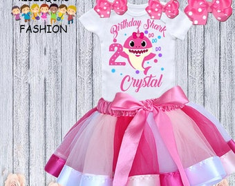 7e7616123 Birthday Baby Shark Doo Doo Doo Purple Pink Tutu Shirt Sequins Headband  Party Girl Set Outfit 1st First Birthday One 1 Year Old Custom Size