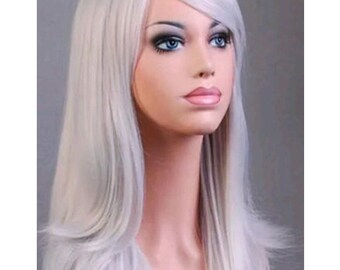 2d30d65c3 SALE High Quality { WHITE } Real Long Wavy Layered Wig Customizations  Customizable Lace Wigs Cosplay costume drag Emo scene color Colorful