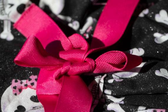 Handmade Pink and Black Pink Ribbon Skull Dog Dress Halloween