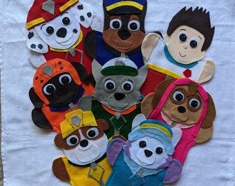 Paw Patrol SINGLE Puppets, Chase, Marshall, Skye, Everest, Ryder, Rocky, Rubble, Zuma,