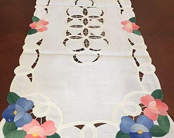 Embroidered Cotton Lace Battenburg Embroidery Placemat Table Runner White Beige