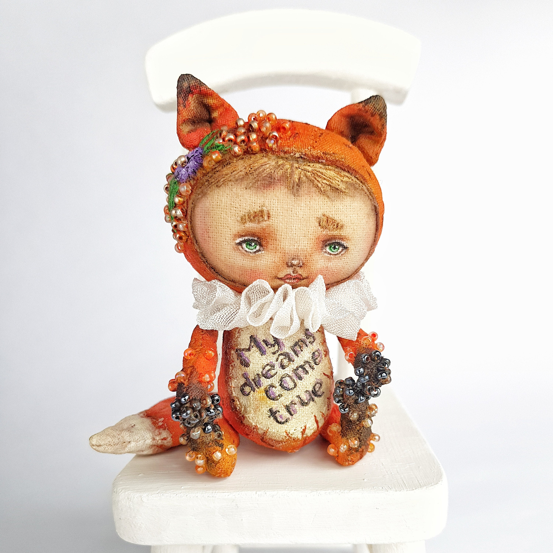 Burn orange fox figurines, little fantasy miniatures art doll animal, for  bjd dolls, textile miniature rag doll. Cute fox gift cloth doll,