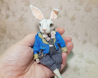 OOAK White rabbit miniature Alice in wonderland doll,  Clay doll s, made to order! rabbit lover gift