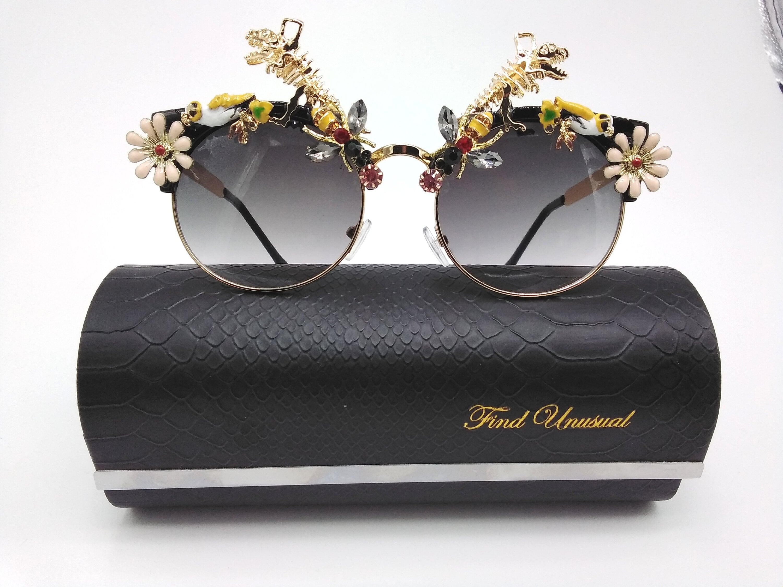 Futuristic dinosaur fashion round sunglasses high fashion glasses frame
