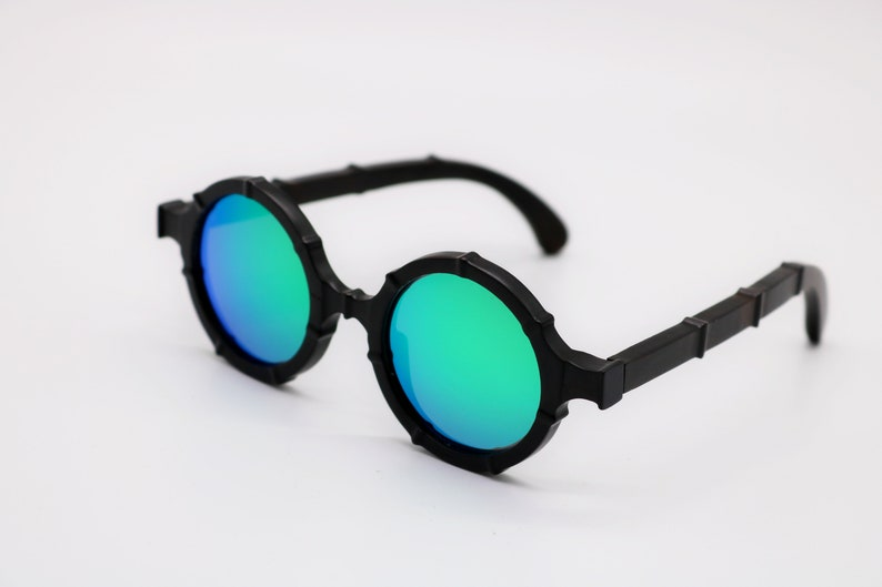 Lennon small round ebony wood sunglasses uv400 and polarized