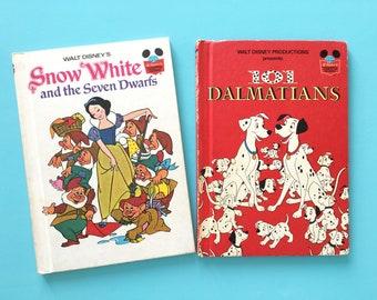 Vintage Disney books, 101 Dalmatians (1981) or Snow White (1973), kids hardback book