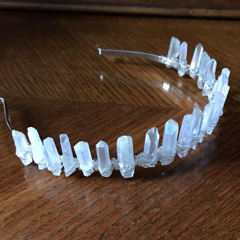 Handmade One Of A Kind Woodland Style Hairband Crystal Wedding Tiara Quartz Bridal Crown