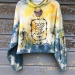 Custom Sweatshirt -- Hoodie or Crew Neck -- Hand painted and printed, custom details, grommets, charms, chain, rose, barbed wire, etc