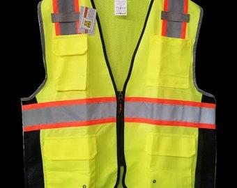 1ef41a9b Hi-Visibility Class 2 Vest, Reflective Safety Vest, Black Side Reflective  Vest