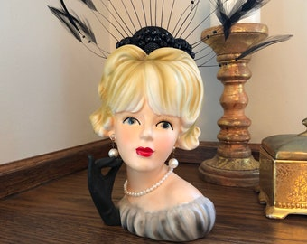 """Vintage 7"""" Lady Head Vase - Relpo K1761 Gray Evening Dress, Black Glove, Spectacular Beaded & Feather Headpiece - WOWZERS!! ***Free Shipping"""