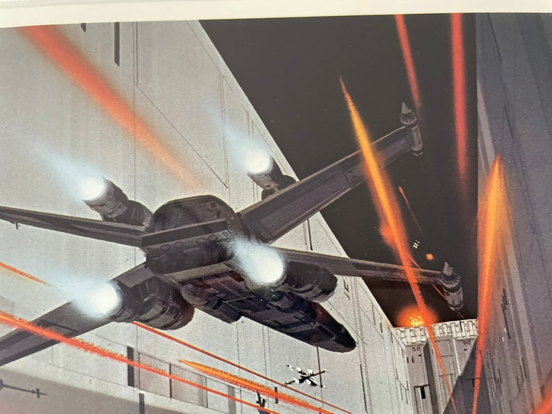 Framed Vintage 1977  Star Wars A New Hope X-Wing Assault on the Death Star by Ralph McQuarrie