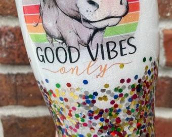 Good Vibes Only Peace Hands Snow Globe Tumbler