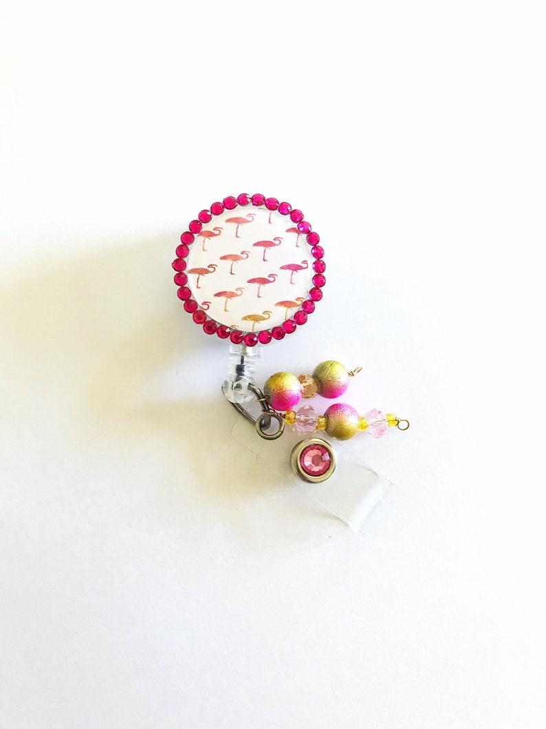 Name badge holder Flamingo badge reel Nurse badge reel. Cute retractable ID badge reel