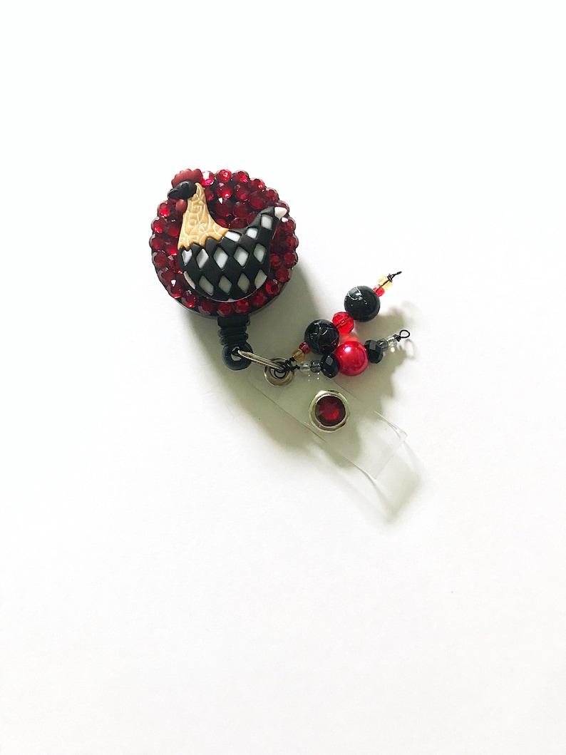 Cute rhinestone embellished ID badge clip. Nurse badge reel Chicken name badge holder