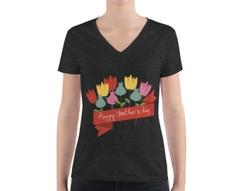 bfcb7d91f Happy Mother's Day Bella + Canvas 8435 Triblend Deep V-Neck T-Shirt with Tear  Away Label
