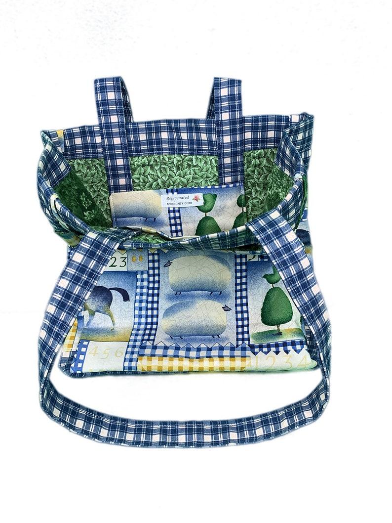 Barnyard Buddies Handmade Checkered Reuseable Tote With Pockets and Barnyard Animal Theme
