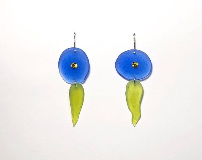 Colorblock Resin Earrings with Swarovski crystals