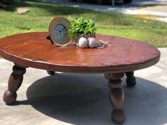 Vintage Round Wooden Coffee Cocktail Table Etsy