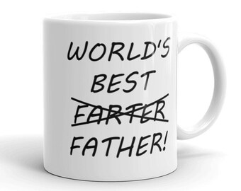 682d91168 Happy Fathers Day gift, world's best farter father, funny gifts for him,  fathers day grandpa gift, father's day ceramic coffee mug