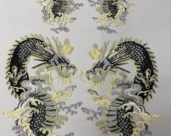 4c1d58e9356930 A pair of dragon patches, Big Embroidered Dragon Patch, Dragon Patches,  Iron On Patch, Embroidered Patches, Chinese Dragon,