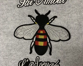 1f50e6b46 A set (3PC) bee letter embroidery patch, DIY patch