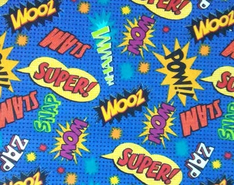 COMIC WORD FABRIC SUPERHERO ACTION WORD ZOOM ZAP 100/% COTTON  SCRAP  8 REMNANT