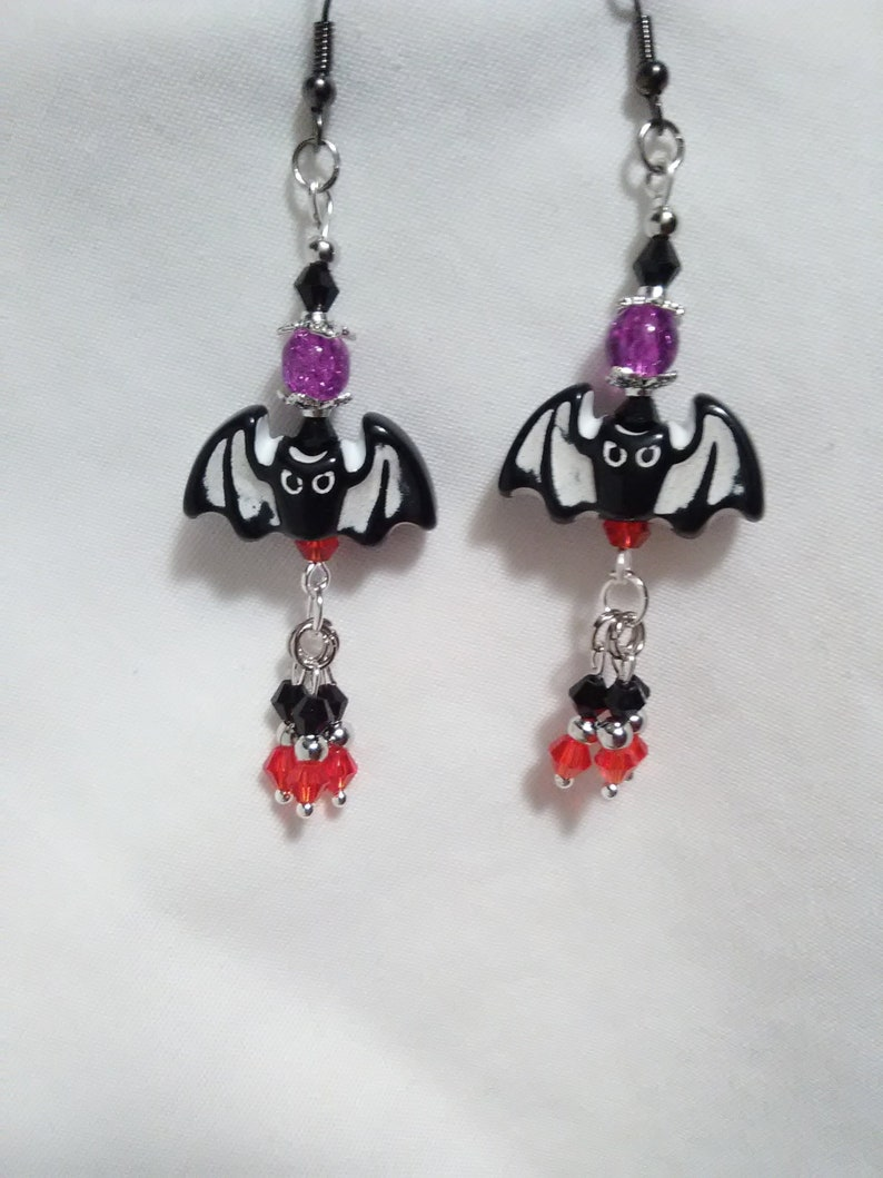 Halloween Bat Earrings october halloween jewelry image 0