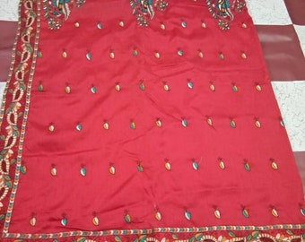 3493ebb9b2cb5 Traditional Red Kantha Stitch Saree with Blouse Piece