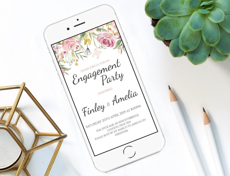 Editable Electronic Engagement Party Invitation Template Watercolor Flower Invite Printable Digital Smartphone Whatsapp
