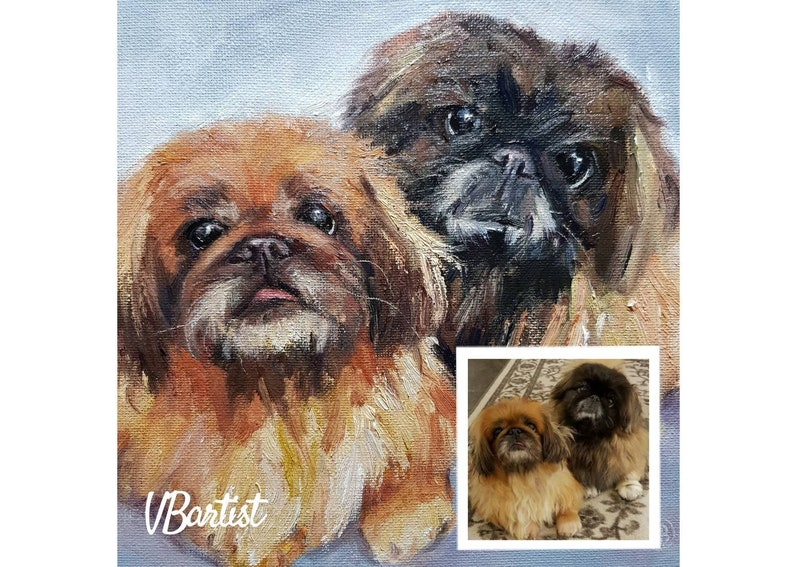 Pekingese Painting Custom Dog Portrait Cute Animal Wall Art Original Oil Painting Made to Order from your photo by VBartist