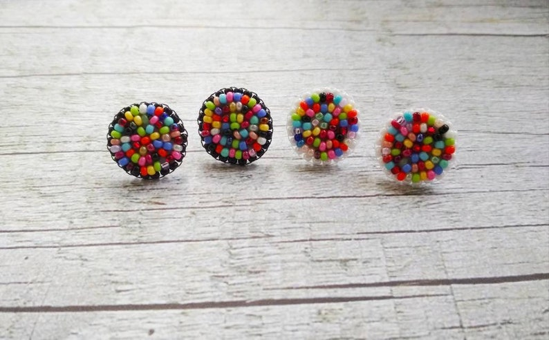 Small stud earrings Tiny geometric studs Flat stud earrings Tiny flat studs Round flat studs Rainbow stud earrings Beaded earrings