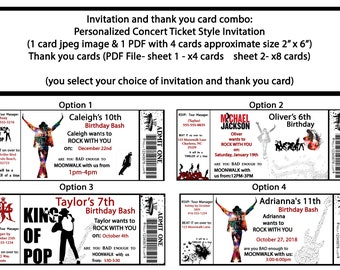 Michael Jackson Birthday Concert Ticket Style Invitation And Thank You Card Combo
