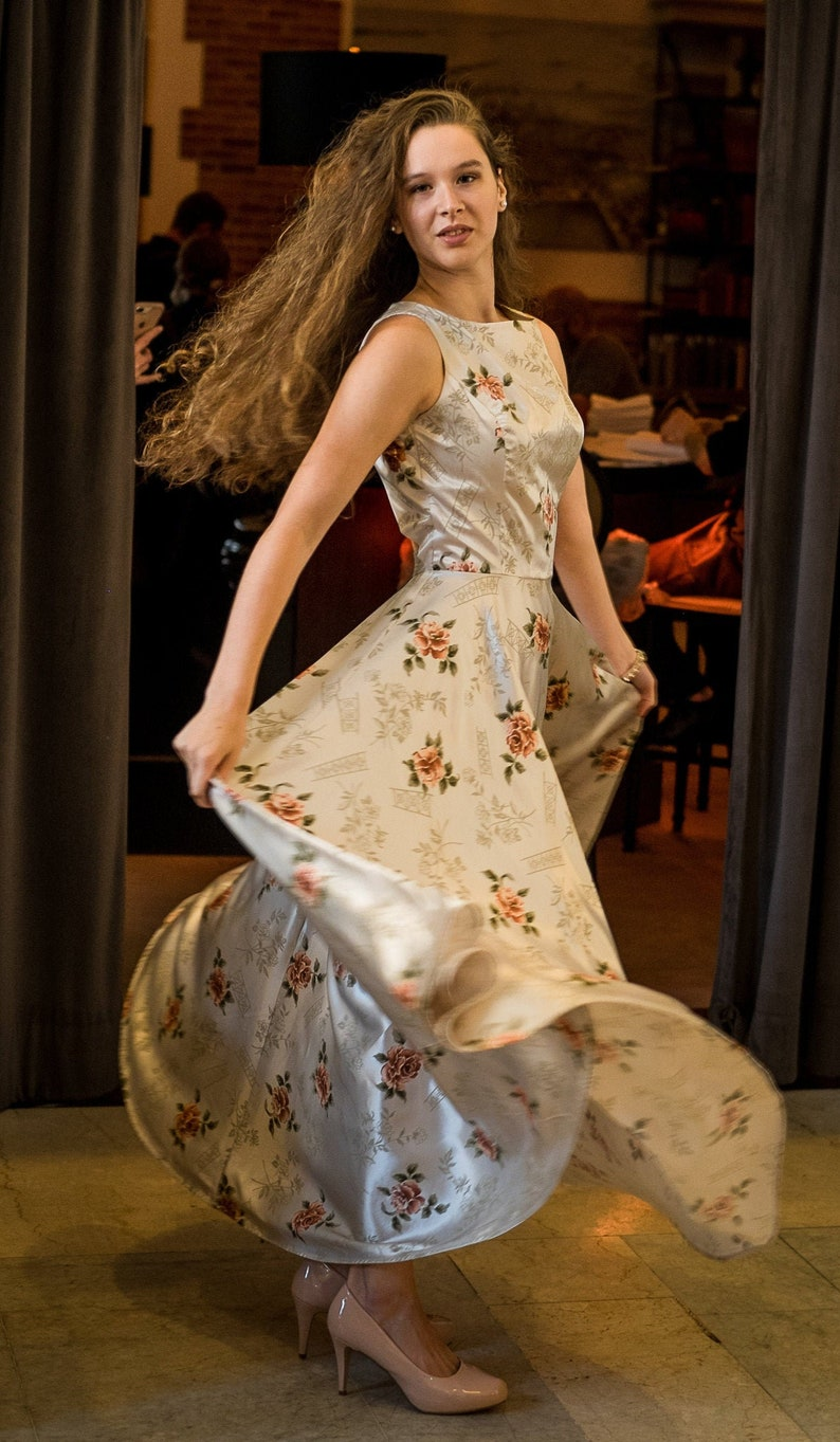 Champagne Rose print gown image 0