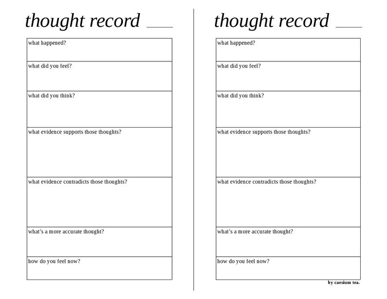 Simple horizontal thought record worksheet for cognitive ...