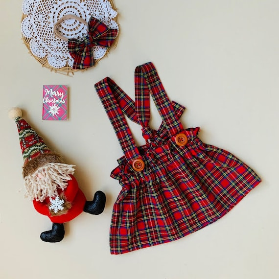 Plaid red skirt Set Baby skirt and head bow Suspender skirt and bow Plaid toddler girl outfit