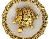 Metal Fengshui Tortoise with Crystal Plate Home Decor table decor showpiece For Happiness, Positivity, Peace Lucky Tortoise Good luck symbol