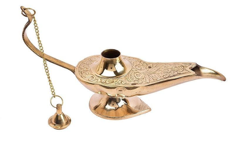 5 Inch Golden Brass Metal Antique Unique Aladdin oil lamp Incense Burner 13 cm Quality Material.Stylish Golden Antique Look.