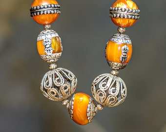 Ethnic-style Silver, Copal Amber Resin and Mother-of-Pearl Over Silver Necklace