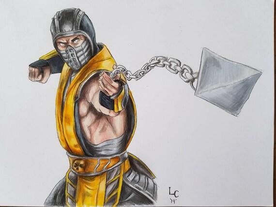 Mortal Kombat Scorpion A4 Print Etsy