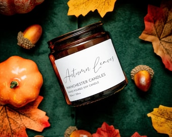 Autumn Leaves Autumn Fragrance Soy Candle. Vegan Candle Gift For Her. Autumn Candle Decor. Fall Candle Winter Halloween Candle Gift Box.