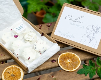 Calm Soy Wax Melts Gift Box - Botanical Wax Melts Gift Set - Natural Wax Melts Sample Box - Letterbox Gifts For Her - Gift For Mum