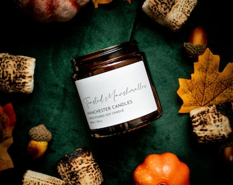 Toasted Marshmallow Autumn Fragrance Soy Candle. Vegan Candle Gift For Her. Autumn Candle Decor.Fall Candle Winter Halloween Candle Gift Box