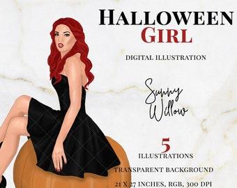 Halloween Girl Clipart, Halloween Illustration, Witch Clipart, Planner Clipart, Girl Planner Supplies, Halloween Woman Clipart, Witch Girl