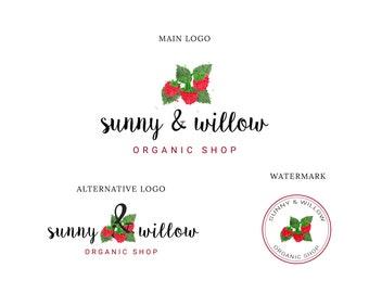 Logo Design, Food Logo, Fruit Logo,Boutique Logo, Blog Logo, Premade Logo, Small Business Logo, Custom Logo Design, Feminine Logo, Shop Logo