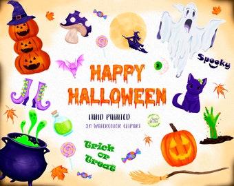 Watercolor Halloween Clipart, Autumn Clipart, Pumpkin, Witch, Bat, Zombie, Ghost, Mushroom, Cat, Candy, Greeting Card, Kids Halloween Prints